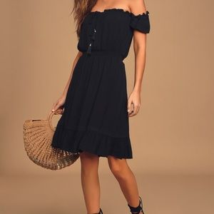 Lulus Palmeras Black Off the Shoulder Mini Dress